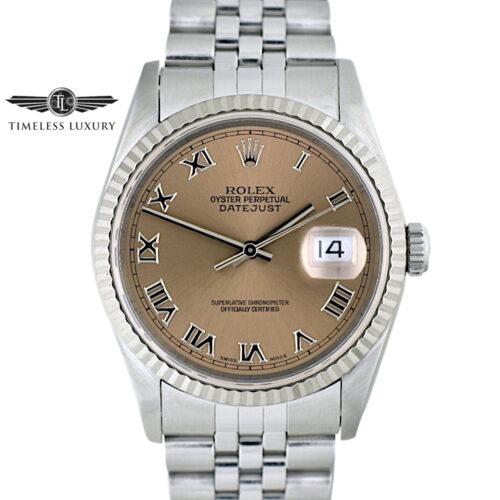 1996 Rolex Datejust 16234 Salmon Roman Dial